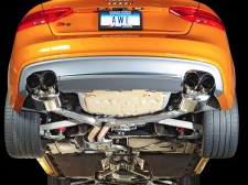 2013-2017 Audi S5 B8.5 / 3.0L Turbo / Cat Back Exhaust / Touring / Resonated / Silver Tips 90mm